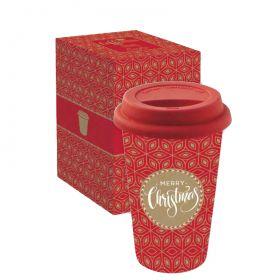 """Kelioninis puodelis """"Merry Christmas"""" (350 ml; raudonas)"""