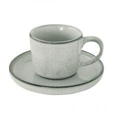 GOUNTRY GREY puodelis lėkštele (200 ml)