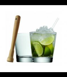 Kokteilių stiklinės ir grūstuvas