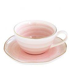 """Puodelis su lėkštute """"Artesanal Pink"""" (250 ml)"""